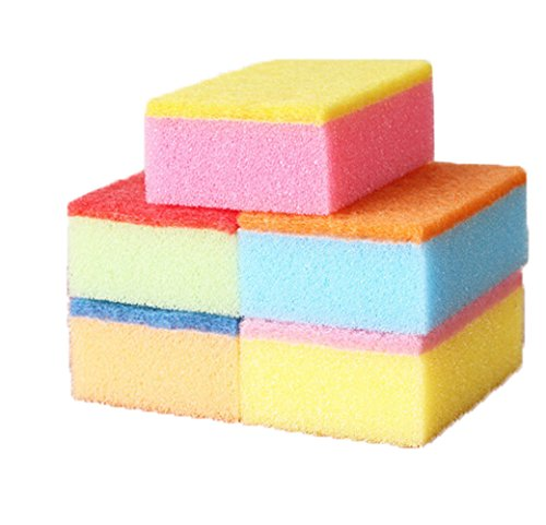 EUBUY 5pcs Colorful Multi-Purpose Durable And Super-Lightweight Dish Scrub/Cleaning Sponges Sponge Scouring Pad (Light Weight Dishes)