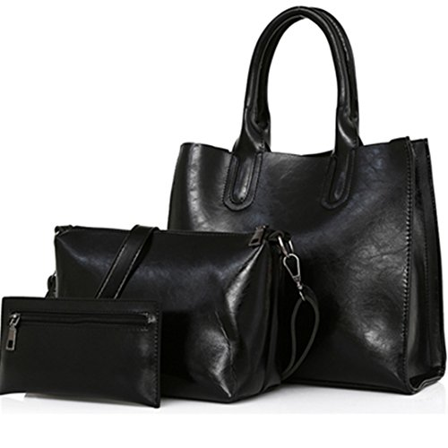 Black Capacity Black 30cm 26cm Women Set Big Bags 3 Large Oil Wax Bag 12cm Leather Shoulder Bag Pcs Pu Women Female Casual Composite Handbags CcgqpRFSB