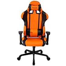 ViscoLogic Series Cayenne Gaming Racing Style Swivel Office Chair, Orange & Black