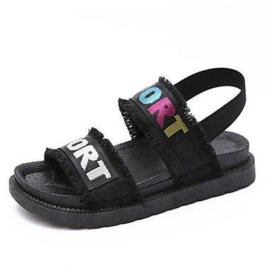 FSCHOOLY Womens Zapatos De Goma Confort Primavera Verano Sandalias De Tacón Plana Para El Exterior Negro/Rojo Y Negro/Blanco Negro/Blanco