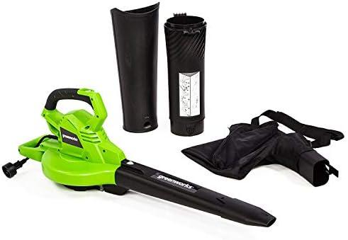 Greenworks 12 Amp Corded 2-Speed Leaf Blower Vacuum, 270MPH-400CFM, BLV12B00