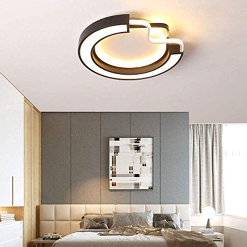 LED Ceiling Lamp Dimmable 42W Ceiling Light Metal Acrylic Dome Light Round Black White Fixture Indoor Illumination 3000K-6000K Ø50cm × H8cm