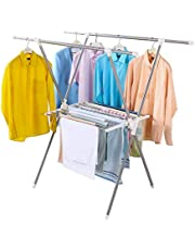 Hershii 2-Tier Clothes Drying Rack X Shape Collapsible Clothes Airer with Towels/Shoes Storage Shelves for Indoor Laundry Room Outdoor Use (Double Towel Rack)