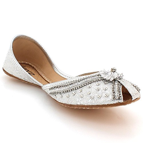 Silver Women Ethnic On Handmade Slip Peeptoe Flat Size Leather LONDON Ladies Traditional Shoes Pumps Bridal AARZ Indian Khussa FXwqnT5SxX