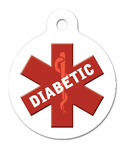 Medical Alert, Diabetic – Pet ID Tag, 2 Sided, 4 Lines Custom Personalized Text Available, My Pet Supplies