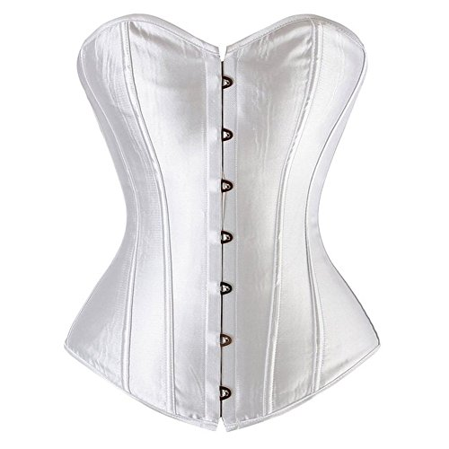 Senchanting Plus Size Women Overbust Boned Lace-up Satin Corset Bustier Top - Corset Satin White