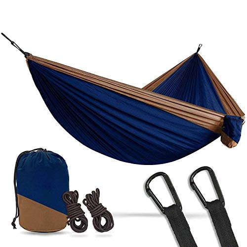 OASIS LAND 2 Person Double Camping Hammock XL 10 Foot Nylon Portable Heavy Duty Holds 700lb for Sitting Hanging,Dark Blue tan (800 Hammock Lb Capacity)