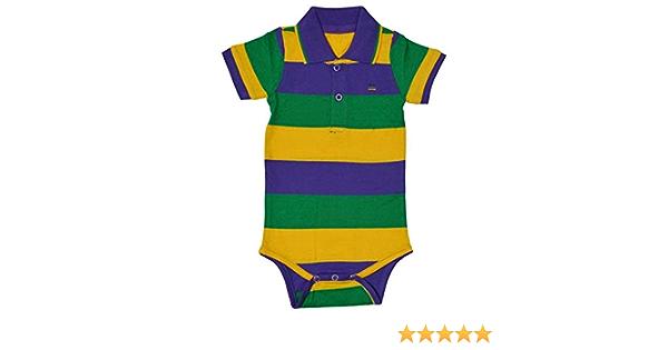 Mardi Gras Purple Green Yellow Knit 6 Mth Baby Infant Short Sleeve Romper