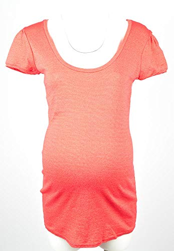 - Michael Stars Maternity OSFA Puff S/S Scoop Neck Tshirt top Red