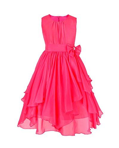 FEESHOW Kids Big Girl Asymmetric Chiffon Flower Wedding Bridesmaid Party Dress Rose 8