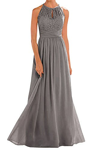 Annadress Women's Halter Lace A-line Chiffon Floor-Length Bridesmaid Dress Dark Grey 22