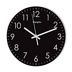 Bien-Zs 10-Inch Non-Ticking Silent Quartz Wall Clock with Modern Design Quiet Sweep Movement Decor for Living Room Kitchen Indoor Decorative Wall Clocks Battery Operated(Black)