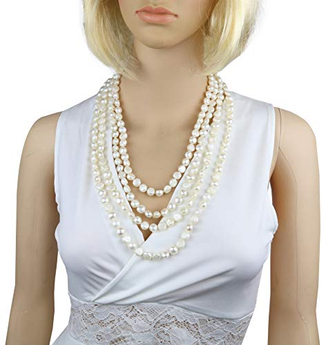 100 Inches White Freshwater Cultured Nugget Pearl Pearl Necklace Jewelry for Women