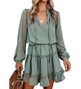 Asvivid Split V Neck Dresses for Women Casual Ruffle Tiered Short Dress Long Sleeve Babydoll Mini...