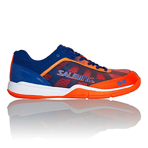 Salming Men's Falco Squash Indoor Court Sports Shoes, Limoges Blue/Orange Flame, 11