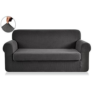 Chunyi 2-Piece Jacquard Polyester Spandex Sofa Slipcover (Sofa, Gray)