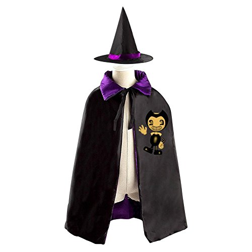 Halloween Witch Mantissa Hat Reversible Costumes Suit Print With (Bendy) Logo For Child Spoof In Party (purple)