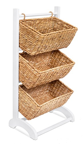 BIRDROCK HOME 3 Tier Abaca Storage Cubby (Natural) | 3 Baskets Made of Durable Seagrass Fiber | Solid Wood Frame | Child Pet Dog Toy Food Storage Organizer Shelf | Kitchen Vertical Rack Unit Stand