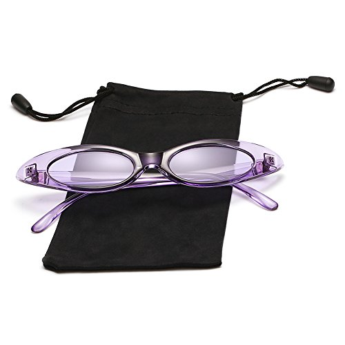 LOOKEYE Small Cateye Sunglasses Oval Clout Goggles Vintage Mod Chic Candy Shades for Women and Man, Crystal Purple and Clear Purple Lens (Crystal Vintage Clear)