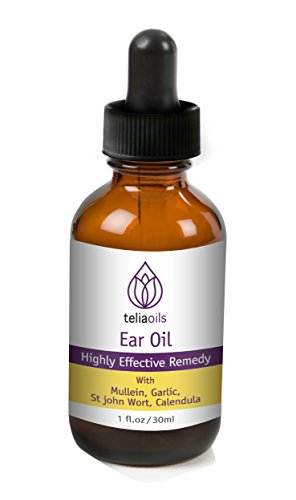All Natural Herbal Ear Drop Oil with Mullein, garlic – Alcohol Free, 1oz/30ml by Teliaoils