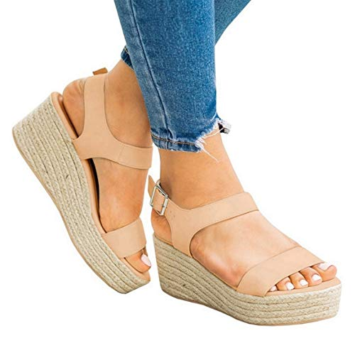 Coutgo Womens Platform Wedge Espadrille Strappy Sandals Ankle Strap Open Toe High Heel Sandals
