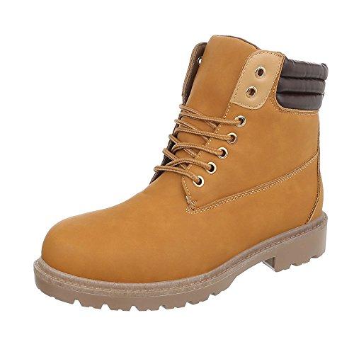 Winter-/Schneestiefel Herren-Schuhe Klassischer Stiefel Blockabsatz Schnürer Schnürsenkel Ital-Design Stiefel Camel, Gr 41, H930-