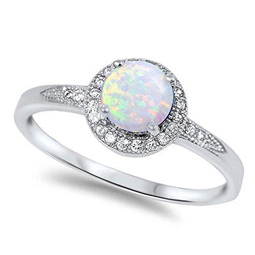 Opal White Ring - Lab Created White Opal & Cz .925 Sterling Silver Ring size 10