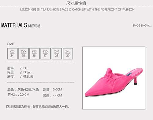 Sandals Thin Baotou Outwear High gules Sexy Pointed 5Cm Heel Slippers SFSYDDY Summer Fashion Heel Half Lady Slippers pgHHOz