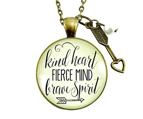 "24"" Kindness Necklace Kind Heart Fierce Mind Brave Spirit Glam Quote Positive Message Pendant Arrow Heart Jewelry"