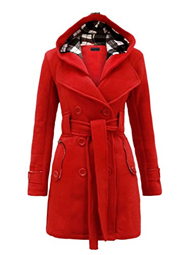 Fleece Belted Button NOROZE Womens Sleeve Coat Red Long 7IwcqtcX