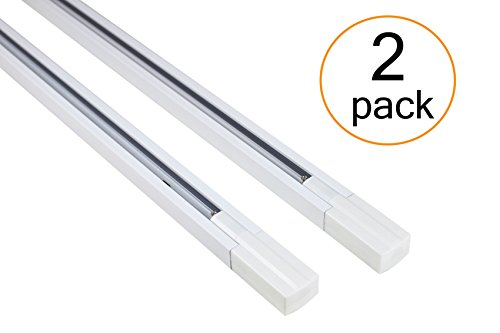 J.LUMI RAL1002W track light rails, 3-wire single circuit track rails, WHITE paint finish, 3-ft per section (Pack of 2 Sections), compatible w/TRK9000W and TRK9600W track heads only