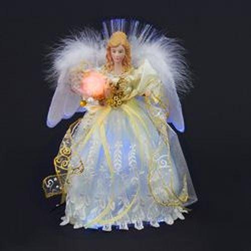 Kurt Adler CUL Fiber Optic LED Angel Christmas Treetop Figurine, 12-Inch, White and Silver (Angel Topper Silver Tree)