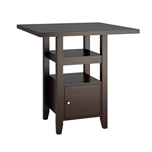 Pedestal Counter (CorLiving DPP-690-T Bistro Counter Height Dining Table with Cabinet, 36-Inch, Cappuccino)