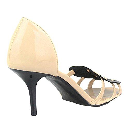 Womens Peep Beige Kitten Size Mid strap fereshte Large toe heel Spliced Sandals dTqpad1w