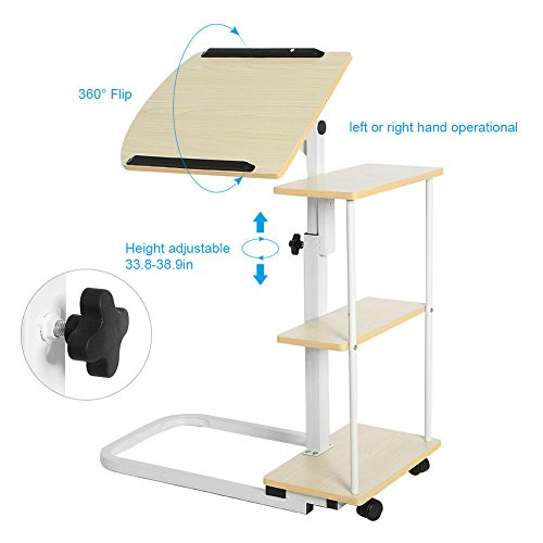 New Overbed Rolling Table With Tilting Top for Laptop Food Tray Hospital Desk Multi Function (Stock US) by Neolifu (Image #5)
