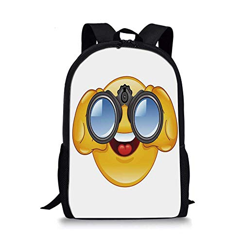 Emoji Stylish School Bag,Smiley Face with a Telescope Binoculars Glasses Watching Outside Cartoon Print for Boys,11''L x 5''W x 17''H