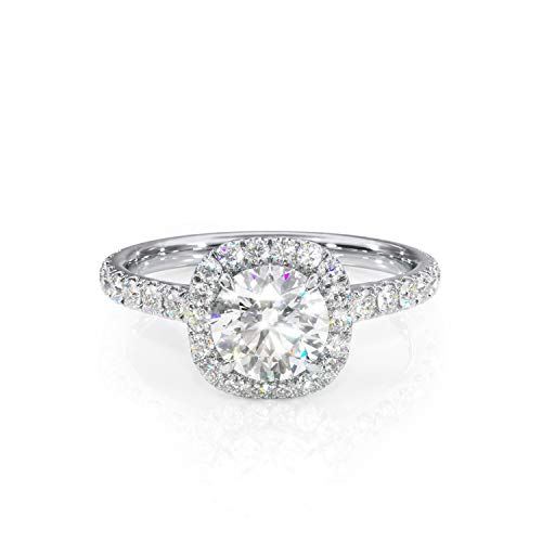 (6.5mm Round Moissanite and Diamond Cushion-Halo Ring. Cathedral Engagement Ring 14k.)