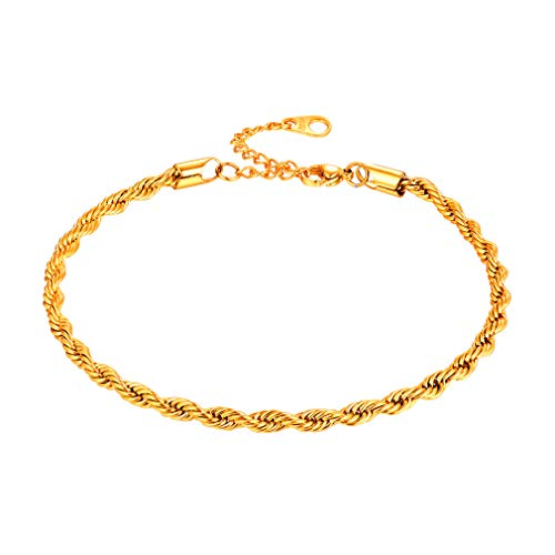 FaithHeart 3MM Twisted Rope Anklet, 18K Gold Plated DIY Hip Hop Summer Foot Jewelry for Men/Women, Gift for Mother/Father Customize Available (Send Gift - Gold Twisted Anklet