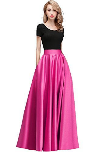 Honey Qiao Women's Satin Long Floor Length High Waist Fomal Prom Party Skirts with Pockets,Back Zipper Closure Hot Pink