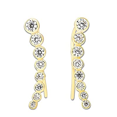 Sterling Silver 925 Gold/ Rose Gold Bezel-set Zirconia Curved Bar Ear Climber Crawler Cuff Studs Hypoallergenic Earrings