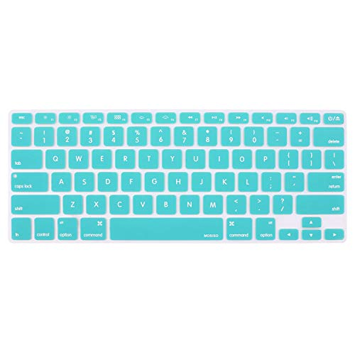 MOSISO Keyboard Cover Silicone Skin Compatible MacBook Pro 13 Inch, 15 Inch (with or without Retina Display, 2015 or Older Version) MacBook Air 13 Inch, Hot Blue
