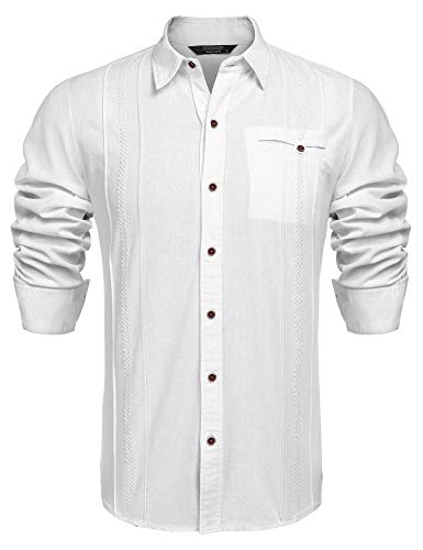 6d1c4047b79 COOFANDY Men s Casual Linen Cotton Shirt Long Sleeve Embroidered Button  Down Shirts