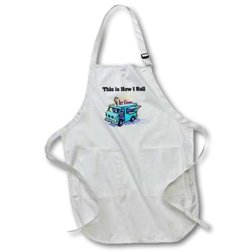 3dRose This Is How I Roll Ice Cream Truck - Full Length Apron, 22 by 30-Inch, White, with Pockets (apr_102546_1) (Ice Apron Cream)