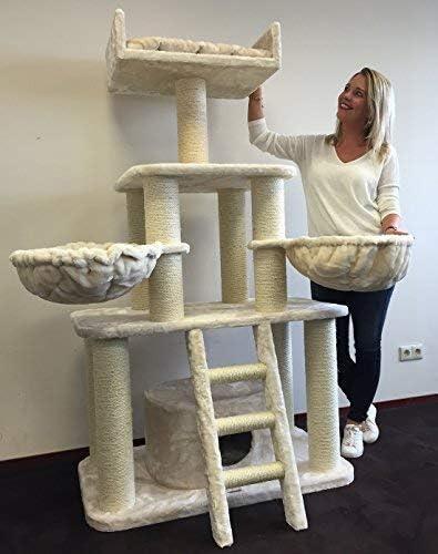 Rascador para gatos grandes Panther Beige baratos arbol xxl maine coon gato adultos con hamaca gigante sisal muebles sofa escalador torre Árboles rascadores cama cueva repuesto medianos: Amazon.es: Productos para mascotas