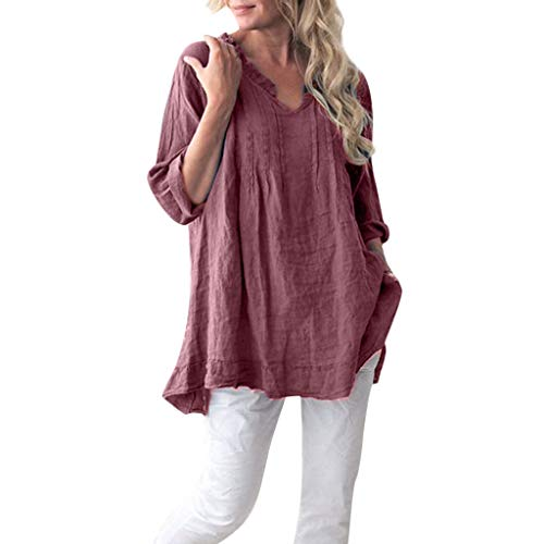 - Linen Shirts for Women Casual Tronet Women Casual Solid Long Sleeve V-Neck Ruffled Pleats Pullover Shirt Tops Blouse