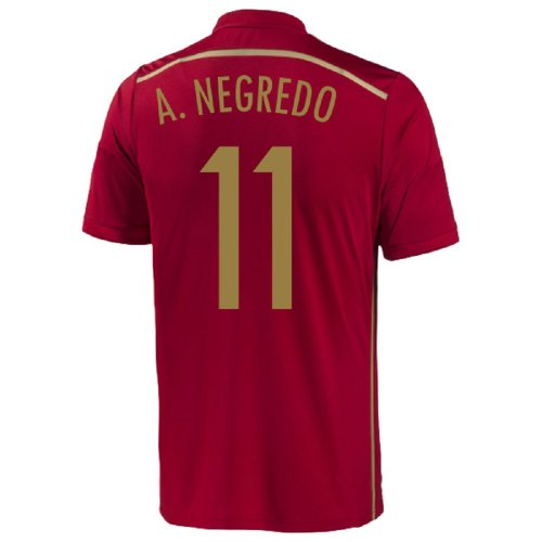 Adidas A. Negredo #11 Spain Home Jersey World Cup 2014 (YOUTH) (YXL)
