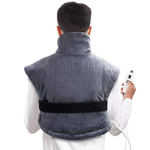 "(Tech Love XL Electric Shoulder Heating Pad for Neck Shoulders and Back Pain Relief with Fixation Strap Moist Heat Pad Wrap with Auto Shut Off 24"" x 25"" - Charcoal Gray)"