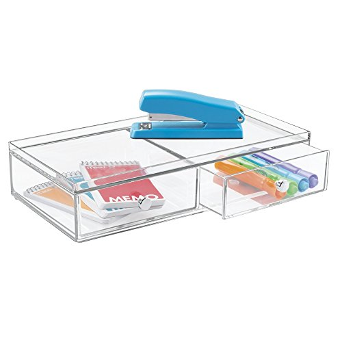 mDesign Office Supplies Desk Drawer Organizer for Staplers, Pens, Markers, Highlighters, Tape - 2 Drawer, Wide, Clear by mDesign