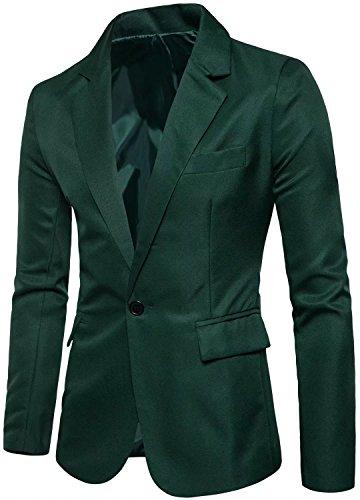 Men's Long Sleeves Peak Lapel Collar One Button Slim Fit Sport Coat Blazer, Deep Green, L/42 = Tag 3XL]()