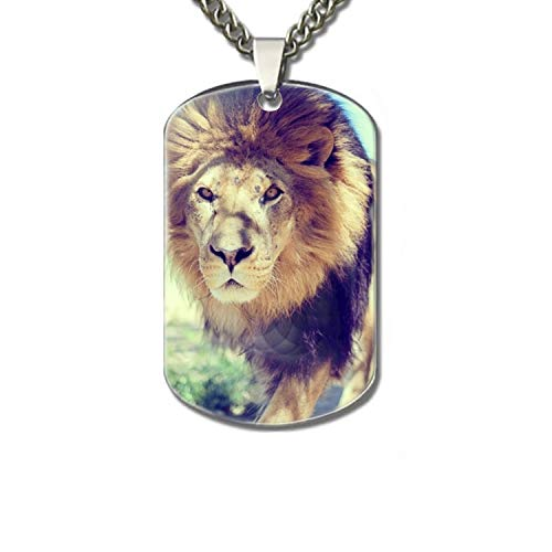 Personalized Printed Aluminum Custom Dog Tag Necklace High Polished Silver - Majestic Lion ()